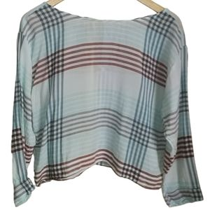 CLOTH & STONE Light Blue Strippes Cropped Blouse